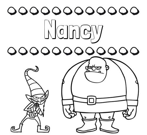 Nombre Nancy: Aprender a colorear su nombre, un ogro y un duende