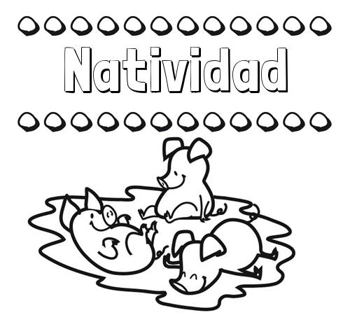 Nombre Natividad: Dibujos para colorear: nombres y los tres cerditos