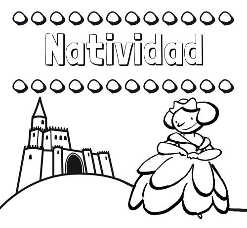 Nombre Natividad: Dibujos para colorear su nombre y una princesa