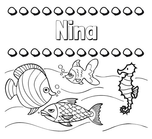Nombre Nina: Peces: dibujos de nombres para pintar