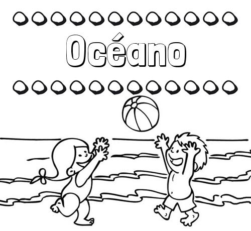 Nombre Océano: Hacer un dibujo del nombre en la playa
