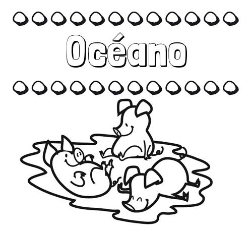 Nombre Océano: Dibujos para colorear: nombres y los tres cerditos