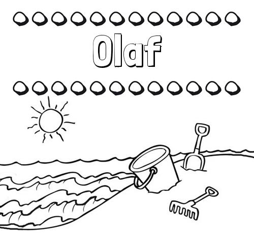 Nombre Olaf: Nombres en la playa: dibujos para colorear