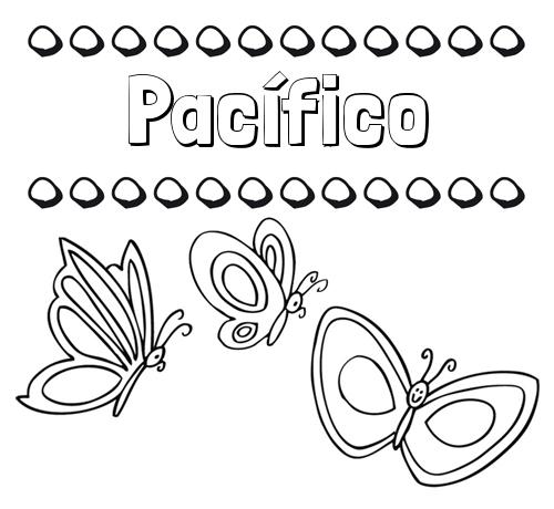 Nombre Pacífico: Imprimir un dibujo para colorear de nombres y mariposas
