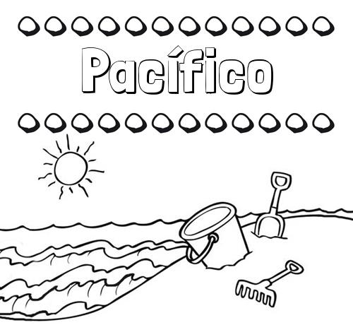 Nombre Pacífico: Nombres en la playa: dibujos para colorear