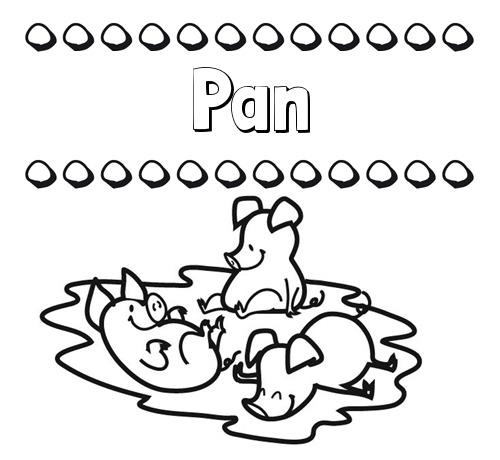 Nombre Pan: Dibujos para colorear: nombres y los tres cerditos