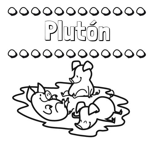 Nombre Plutón: Dibujos para colorear: nombres y los tres cerditos
