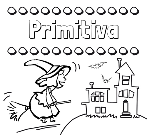 Colorear e imprimir nombres: dibujo de bruja