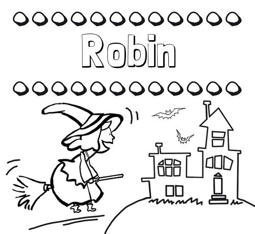 Nombre Robin: Colorear e imprimir nombres: dibujo de bruja