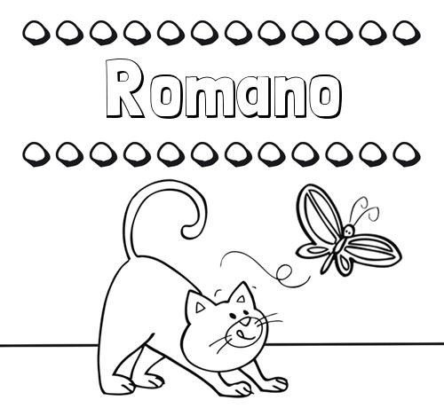 Nombre Romano: Colorear un dibujo con nombre, gato y mariposa