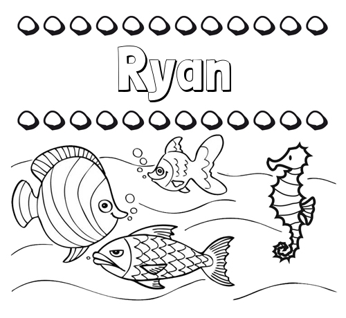 Peces: dibujos de nombres para pintar