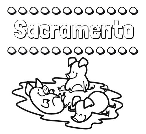 Nombre Sacramento: Dibujos para colorear: nombres y los tres cerditos