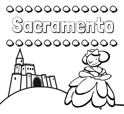 Nombre Sacramento: Dibujos para colorear su nombre y una princesa