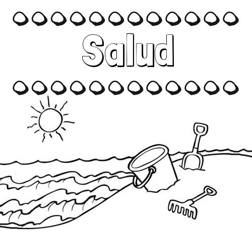 Nombre Salud Nombres En La Playa Dibujos Para Colorear