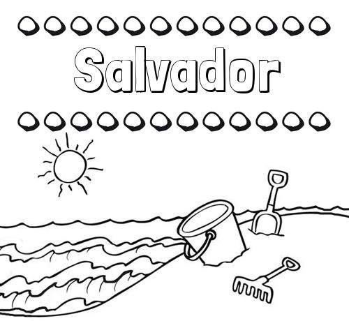 Nombre Salvador: Nombres en la playa: dibujos para colorear