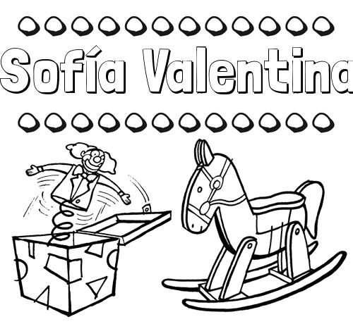 Dibujos con el nombre Sofía Valentina para colorear e imprimir