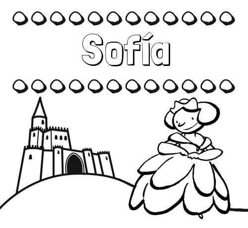 Nombre Sofía: Dibujos para colorear su nombre y una princesa