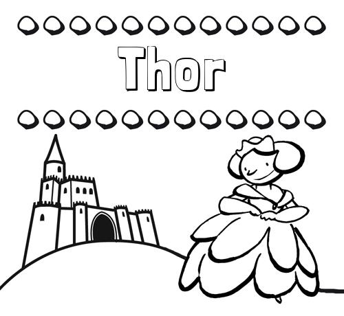 Nombre Thor: Dibujos para colorear su nombre y una princesa