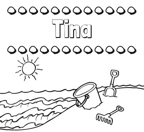 Nombre Tina Nombres En La Playa Dibujos Para Colorear