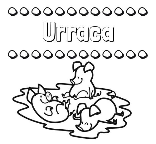 Nombre Urraca: Dibujos para colorear: nombres y los tres cerditos