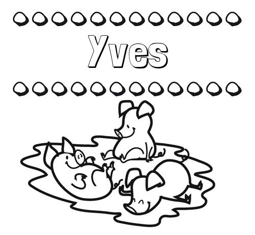 Nombre Yves: Dibujos para colorear: nombres y los tres cerditos