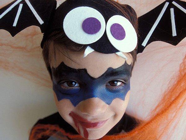 Maquillaje de murciélago para niños