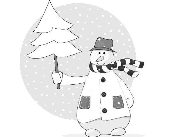 dibujo de un mueco de nieve y un rbol de navidad