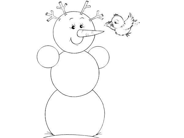 Muñeco de nieve con pajarito para pintar