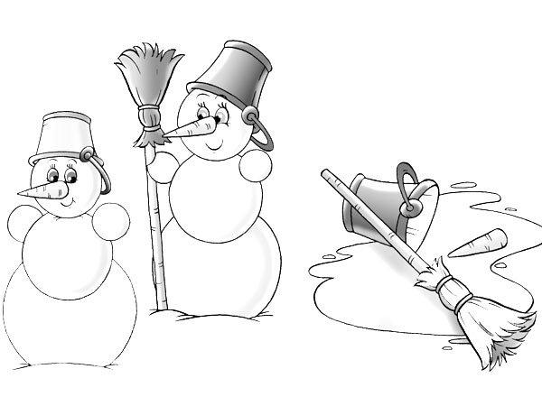 Dibujo de muñecos de nieve derritiéndose