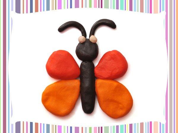 Mariposa de plastilina. Manualidades infantiles