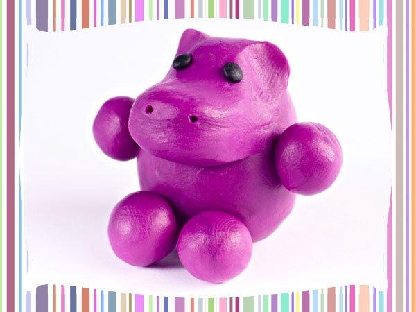 Hipopótamo de plastilina. Manualidad infantil