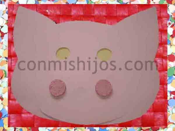 Antifaz de cerdo. Manualidades de Carnaval para niños