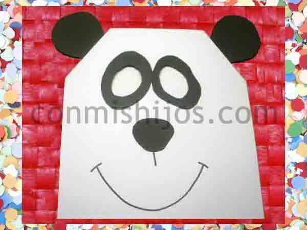 Antifaz de oso panda. Manualidades de Carnaval para niños