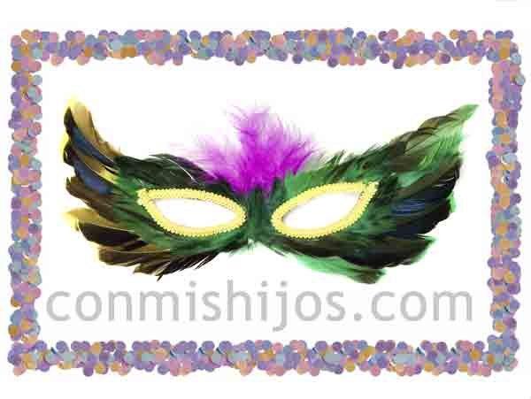 Antifaz de plumas verdes. Máscaras de fantasía para Carnaval