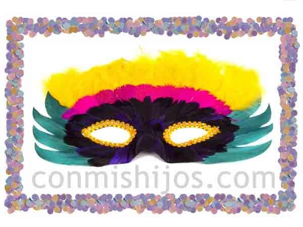 Antifaz de plumas de colores m scaras de fantas a para carnaval - Mascaras para carnaval manualidades ...