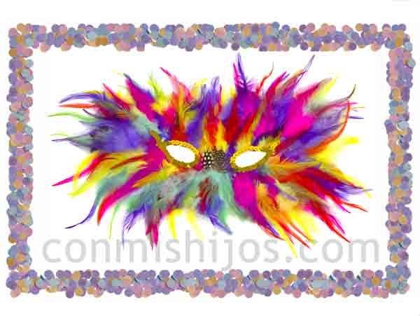 Antifaz de plumas arcoiris. Máscaras de fantasía para Carnaval