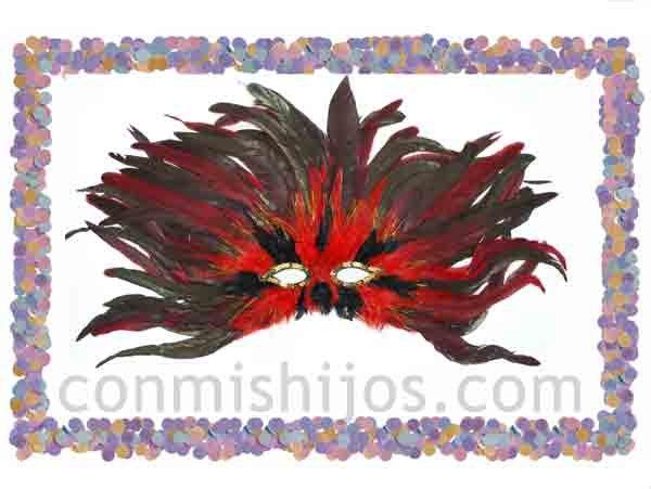 Antifaz de plumas rojas. Máscaras de fantasía para Carnaval