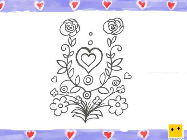 Dibujo De Un Corazón Con Rosas Para Niños