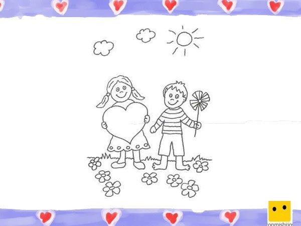 Dibujo De Niños Con Un Corazón Para Colorear