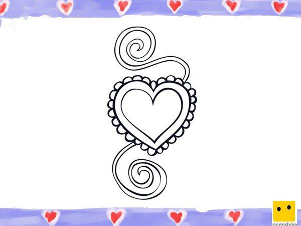 Dibujo de un corazón con lazos para niños