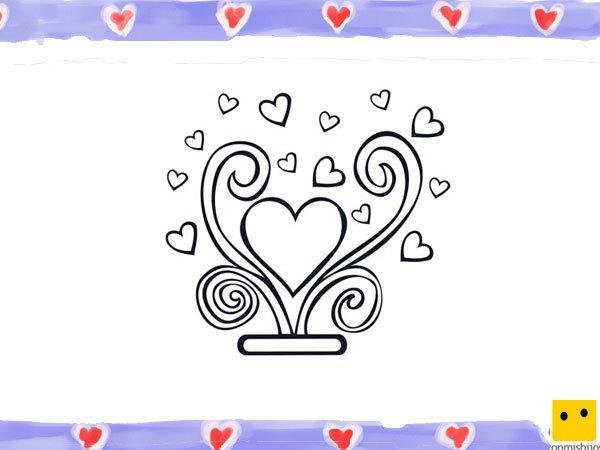 Dibujo de corazones para colorear con los ni os - Como decorar un dibujo de una castana ...