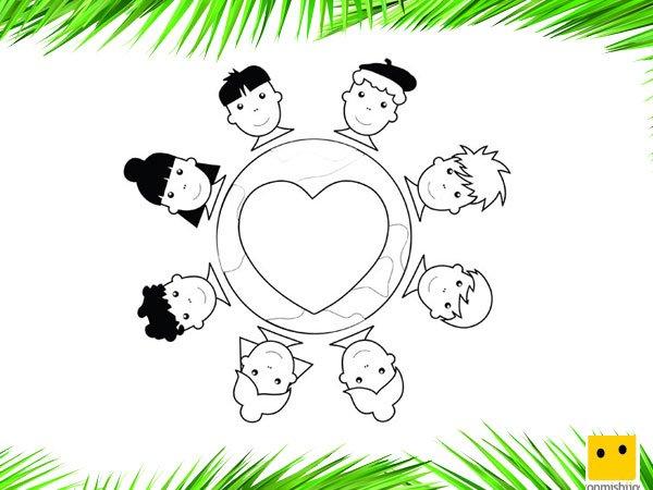 Niños de la Tierra unidos. Dibujos infantiles para colorear