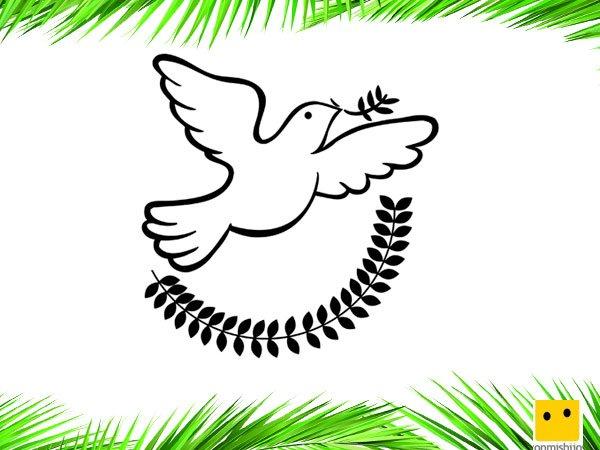 Paloma blanca de la paz. Dibujos para colorear con los niños