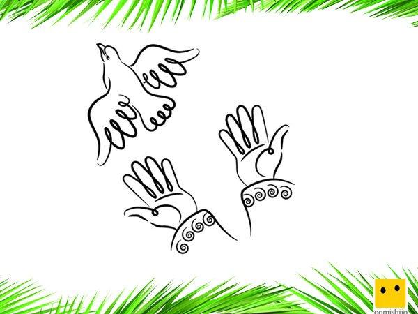 Manos con la paloma de la paz dibujos para colorear con ni os - Ninos pintando con las manos ...