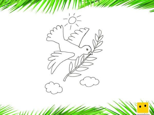 Paloma de la paz. Dibujos para colorear con los niños