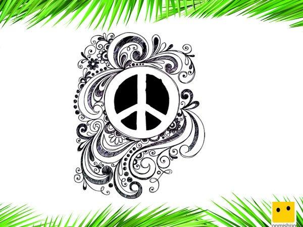 Día De La Paz Galería De Dibujos Y Carteles Niños Del: Símbolo De La Paz. Dibujos Para Colorear Con Niños