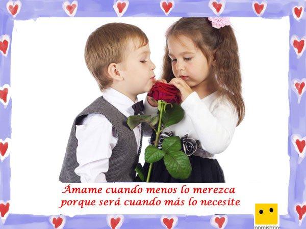 Frases de amor. Imagen de niños con una rosa