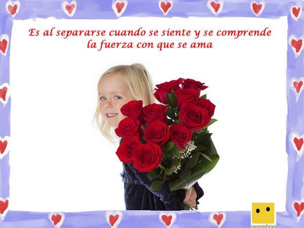 Frases de amor. Imagen de niña con rosas