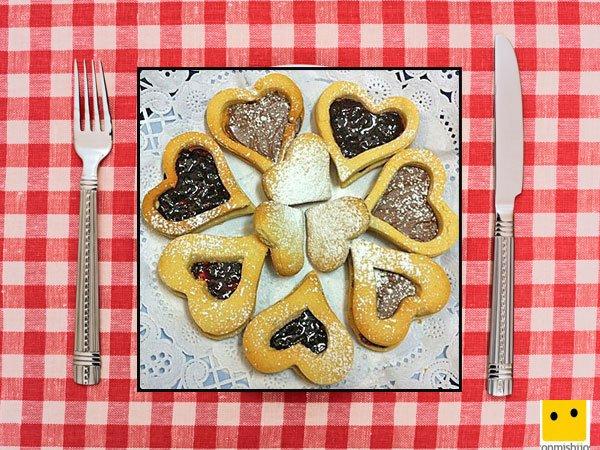 Recetas dulces para niños. Galletas linzer de corazón