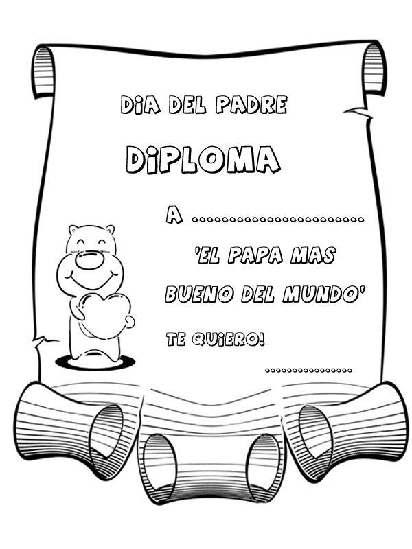 Dibujos Para Pintar Diploma Al Papá Mas Bueno